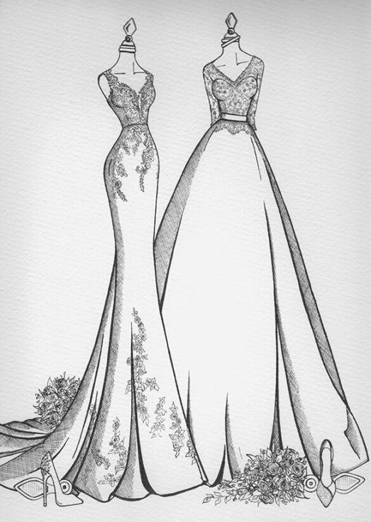 Bride and Bride Wedding Dress Sketch