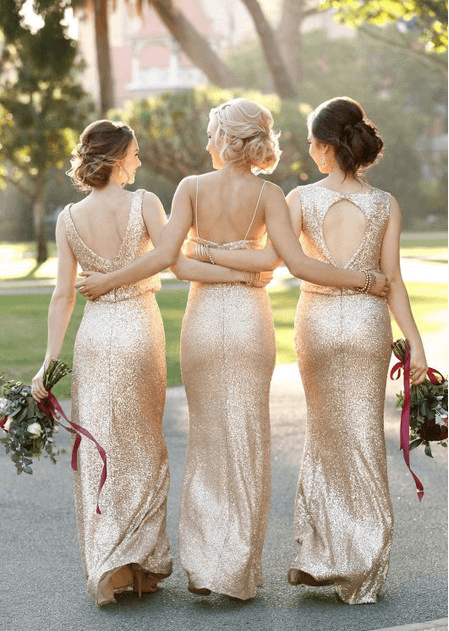 Gold sequin bridesmaids dresses from Pearl and Lace